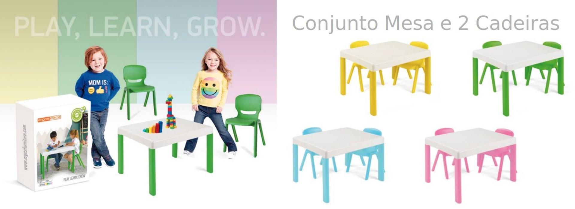 Pack Ergos Kids 1 Conj. Mesa e 2 cadeiras